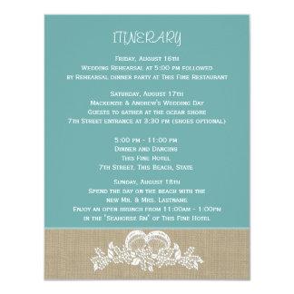 """Itinerario del boda de playa de la guirnalda del invitación 4.25"""" x 5.5"""""""
