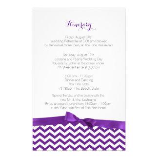 Itinerario púrpura y gris del zigzag moderno papeleria de diseño