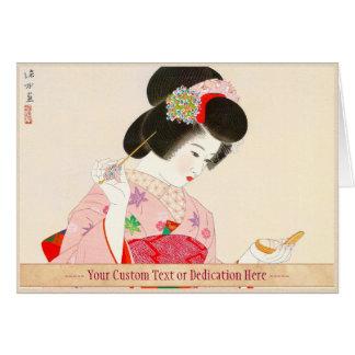 Ito Shinsui Make up vntage japanese geisha lady Card