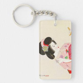 Ito Shinsui Make up vntage japanese geisha lady Double-Sided Rectangular Acrylic Keychain