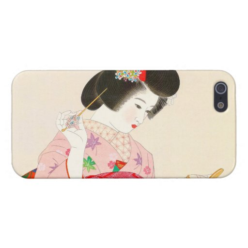 Ito Shinsui Make up vntage japanese geisha lady Cover For iPhone 5/5S