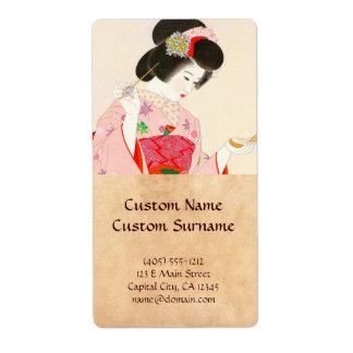 Ito Shinsui Make up vntage japanese geisha lady Label