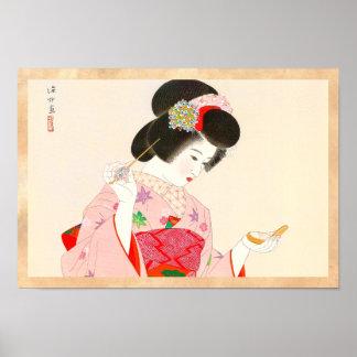 Ito Shinsui Make up vntage japanese geisha lady Poster