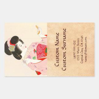 Ito Shinsui Make up vntage japanese geisha lady Rectangular Sticker