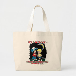 It's 8 o'clock, time for the monsters to come out large tote bag