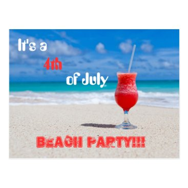 USA Themed It's a 4th of July Beach Party Postcard