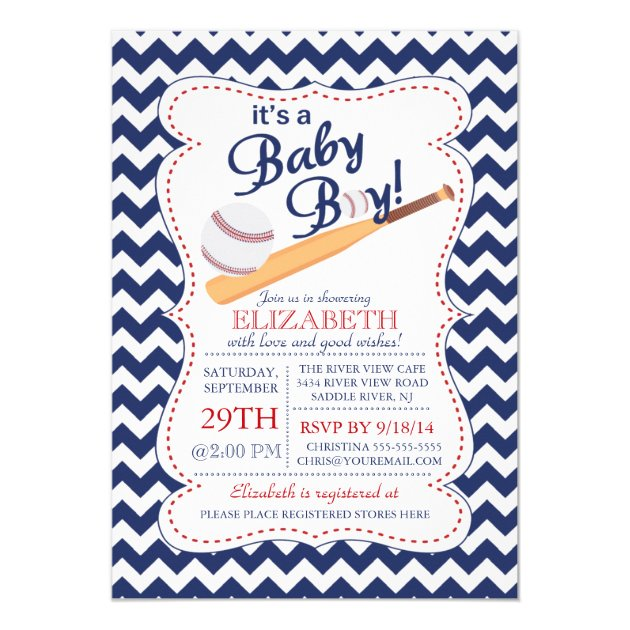 Itu0027s A Baby Boy Baseball Baby Shower 5x7 Paper Invitation Card