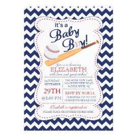 It's a Baby Boy Baseball Baby Shower Custom Announcements