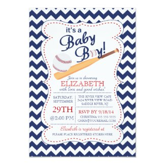 It's a Baby Boy Baseball Baby Shower 5x7 Paper Invitation Card