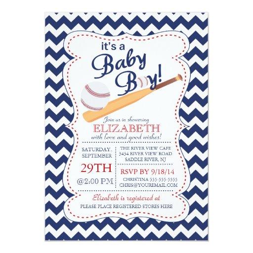 "It's a Baby Boy Baseball Baby Shower 5"" X 7"" Invitation Card"