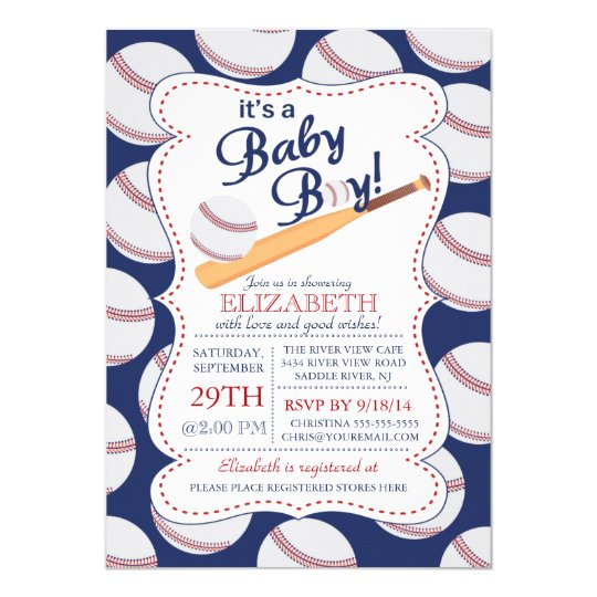 It's A Baby Boy Baseball Baby Shower Invitation