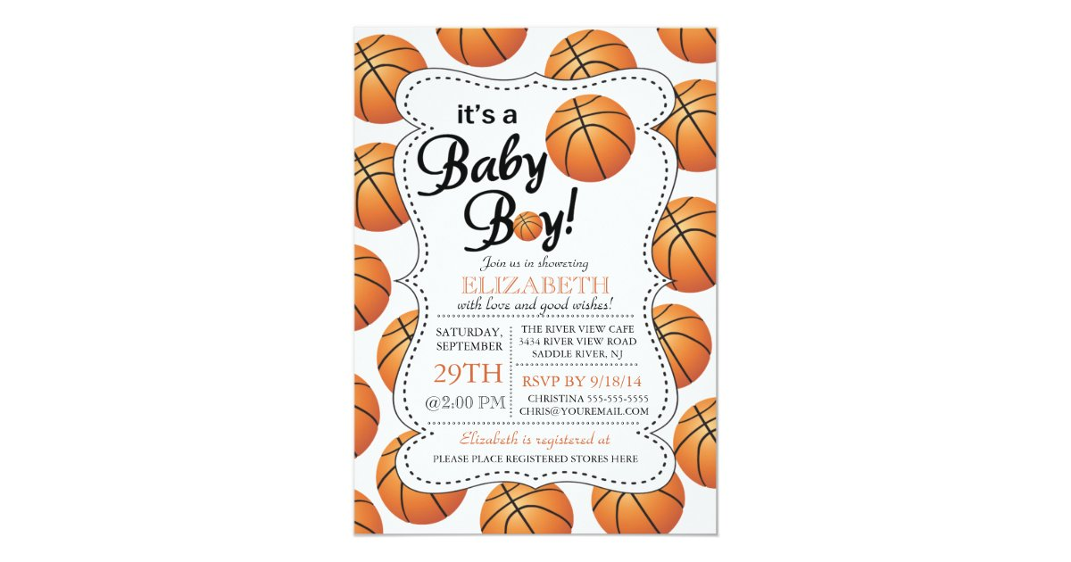 it 39 s a baby boy basketball baby shower 5x7 paper invitation card