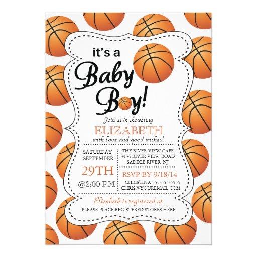 Itu0027s A Baby Boy Basketball Baby Shower Invitations