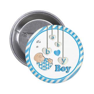 It's a Baby Boy Blue Stripes   Baby Shower Theme Pinback Button