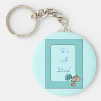 Its A Baby Boy! Cute Mouse Frame Design Basic Round Button Keychain
