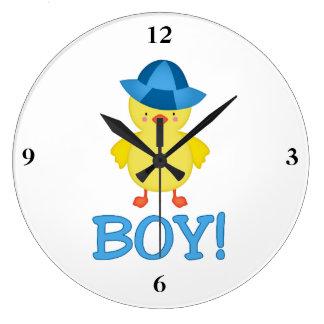 It's A Baby Boy Duckie Blue Hat Large Clock