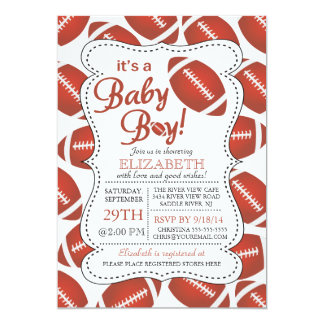 It's a Baby Boy Football Baby Shower 5x7 Paper Invitation Card