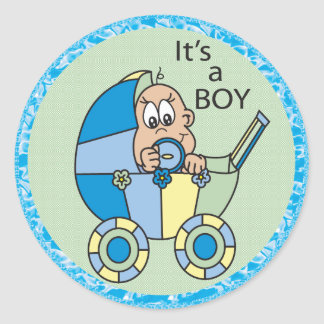 It's A Baby Boy in a Carriage Classic Round Sticker