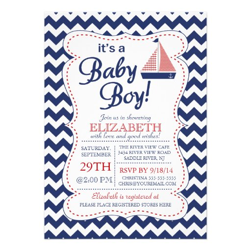 It's a Baby Boy Sailboat Nautical Baby Shower Invitations
