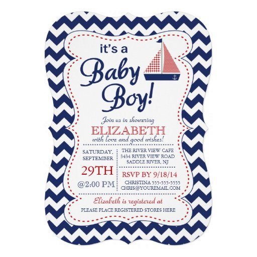 It's a Baby Boy Sailboat Nautical Baby Shower Cards