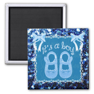 It's a Baby boy shower Blue shoes, bows & sparkles 2 Inch Square Magnet