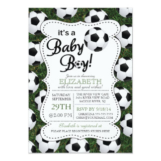 It's a Baby Boy Soccer Baby Shower 5x7 Paper Invitation Card