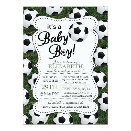 It S A Baby Boy Soccer Baby Shower Card Zazzle