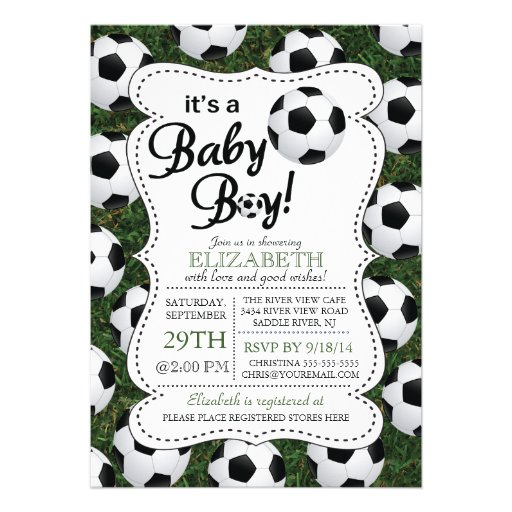 It S A Baby Boy Soccer Baby Shower 5x7 Paper Invitation
