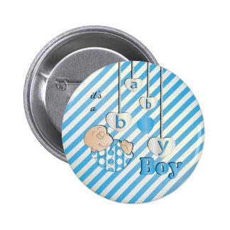 It's a Baby Boy Stripes   Baby Shower Theme 2 Inch Round Button
