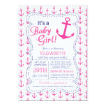 It's a Baby Girl Anchor Nautical Baby Shower 5x7 Paper Invitation Card
