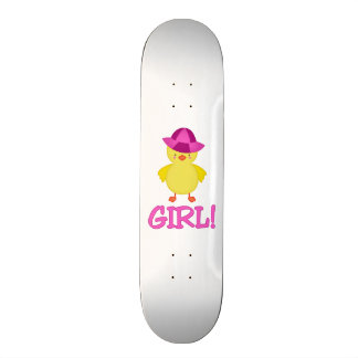 It's A Baby Girl Duckie Pink Hat Skateboard