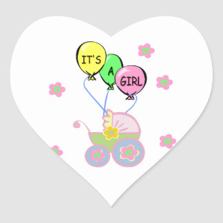 Its A Baby Girl Heart Sticker