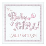 It's a Baby Girl in Pink Playful Fun Baby Shower Custom Announcement