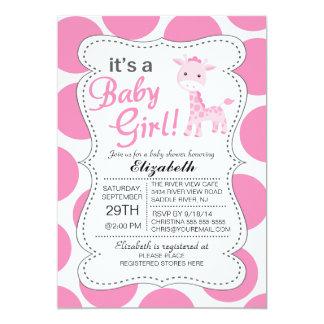 It's a Baby Girl Pink Giraffe Girls Baby Shower Card