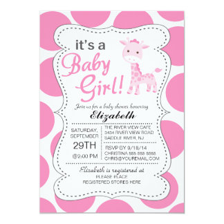 itu0027s a baby girl pink giraffe girls baby shower card