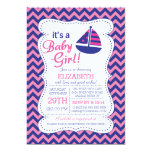 It's a Baby Girl Sailboat Nautical Baby Shower 5x7 Paper Invitation Card