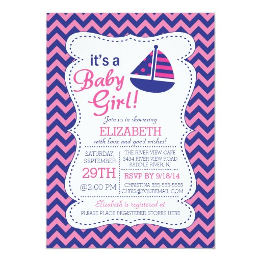 it 39 s a baby girl sailboat nautical baby shower invitations zazzle