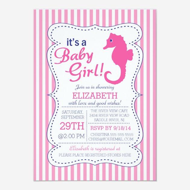 New Nautical Themed Baby shower Invites Templates for Girl | Babyfavors4u KH87