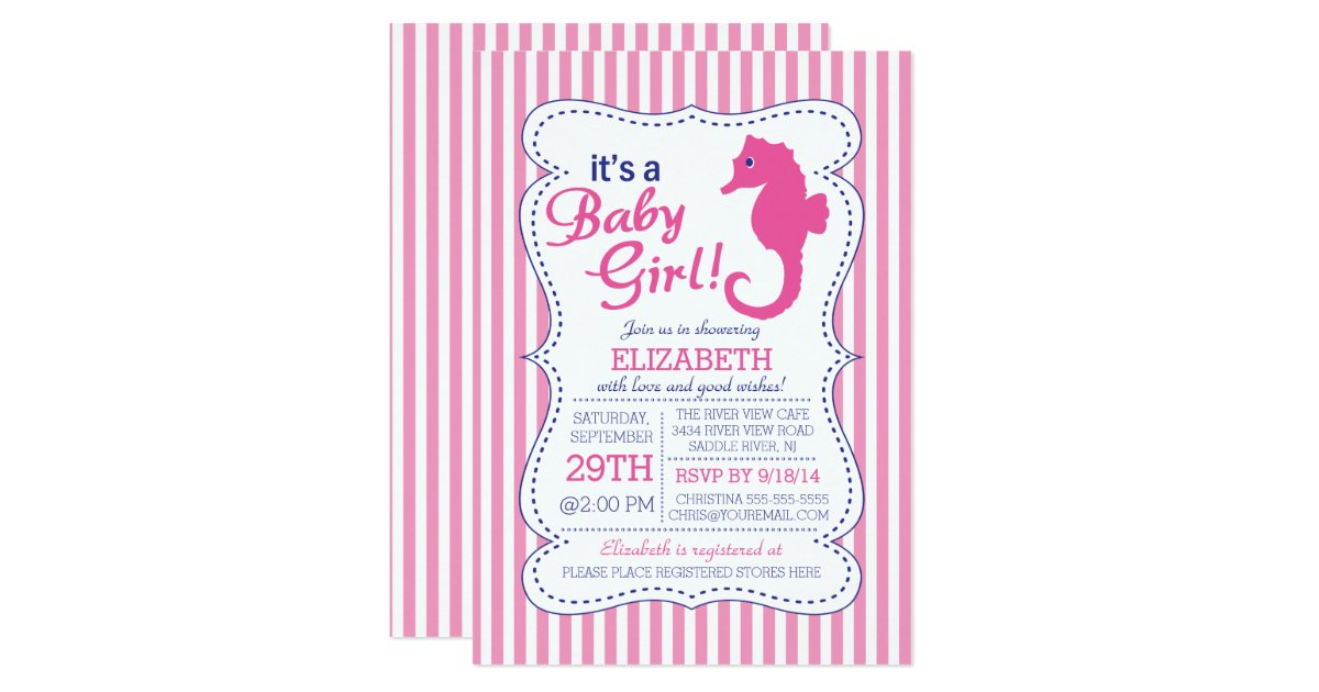 it 39 s a baby girl seahorse nautical baby shower card zazzle