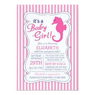 It's a Baby Girl Seahorse Nautical Baby Shower 5x7 Paper Invitation Card