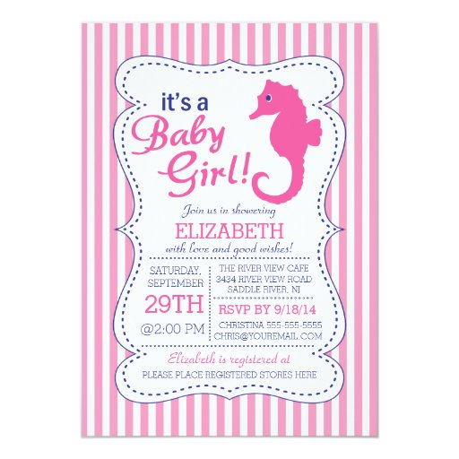 it 39 s a baby girl seahorse nautical baby shower personalized invitation