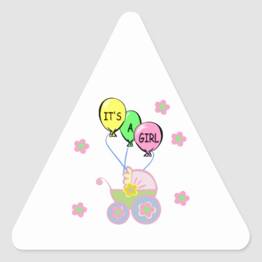 Its A Baby Girl Triangle Sticker
