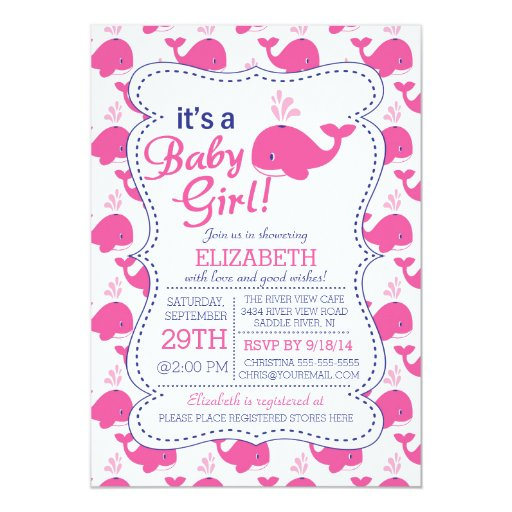 it 39 s a baby girl whale nautical baby shower 5x7 paper invitation card