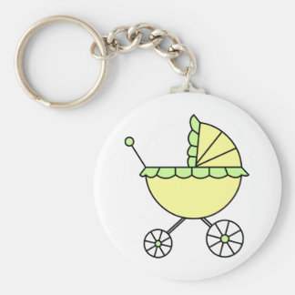 It's A Baby! Yellow Green Baby Carriage Basic Round Button Keychain