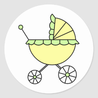 It's A Baby! Yellow Green Baby Carriage Classic Round Sticker