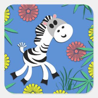 It's a Baby Zebra Jungle Party! Square Sticker