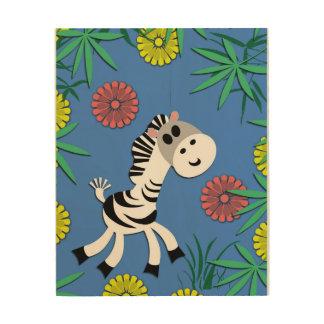 It's a Baby Zebra Jungle Party! Wood Print