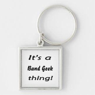 It's a band geek  thing! Silver-Colored square keychain