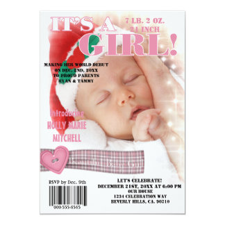 "It's A Beautiful Baby Girl Magazine Cover 5"" X 7"" Invitation Card"