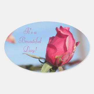 It's a Beautiful Day Pink Rosebud Oval Sticker